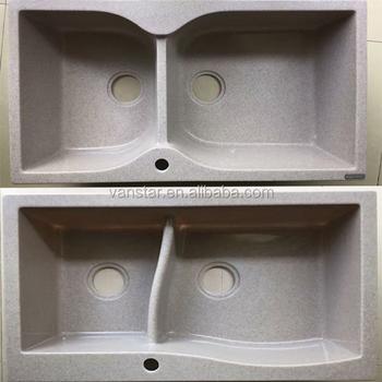 Italian Style Quartz Drain Board Acrylic Kitchen Sinks Snow White