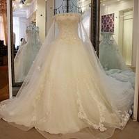 LS21770 Real shoulder shawl chapel train 2016 indian women sweetheart lace wedding dresses