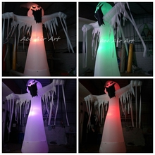 Halloween decoration scary white inflatable ghost with colorful lights