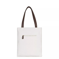 promotional standard size reusable canvas tote bag with leather handle