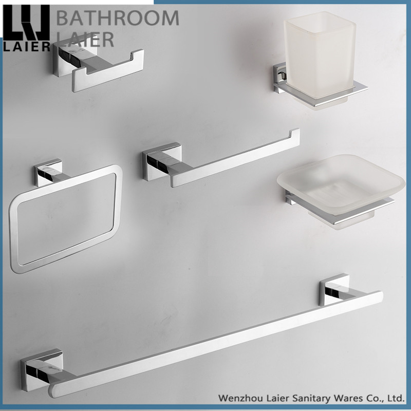 new simple square design zinc alloy chrome bathroom set accessories