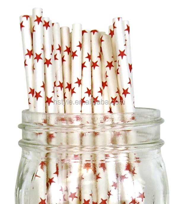 Silver Star Pattern Paper Straws Wedding Supplies Casamento Party Decoration Baby SC014
