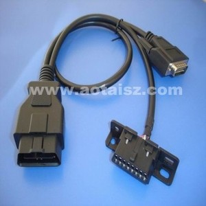 J1962 obd2 cable obdii y cable DB15 to obd male and female