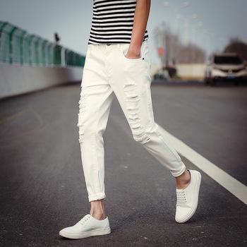 Latest New Design Cotton Material Trousers Men Fancy White Black
