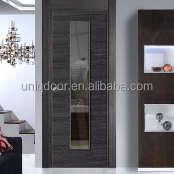 Ash Veneered Gray Wood Door Skin Flush Panel Door With Clear Safety Glass