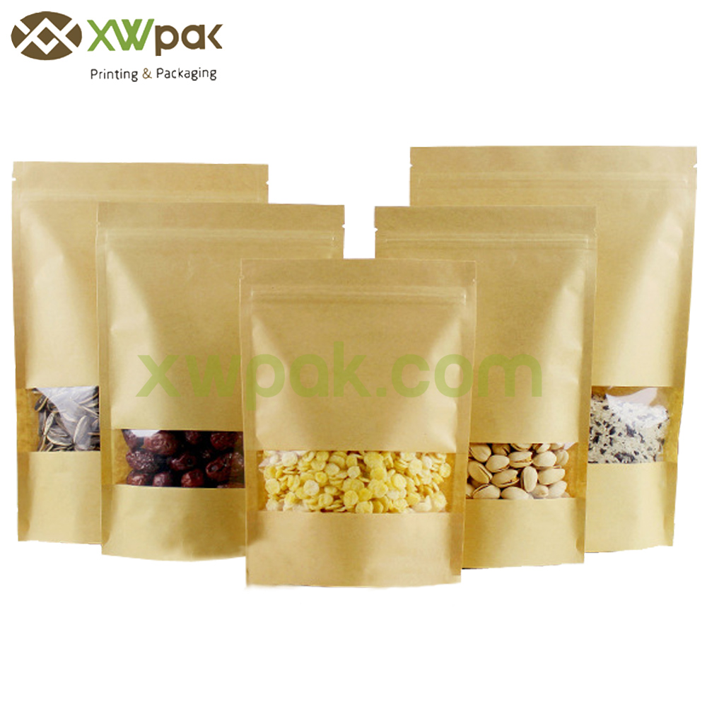 Stock Nonpriting Kraft Paper Bag with Rectangle Window