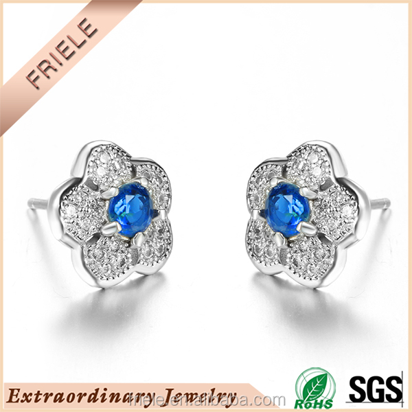 925 silver earring blue sapphire stone flower shape latest designs cz jewelry