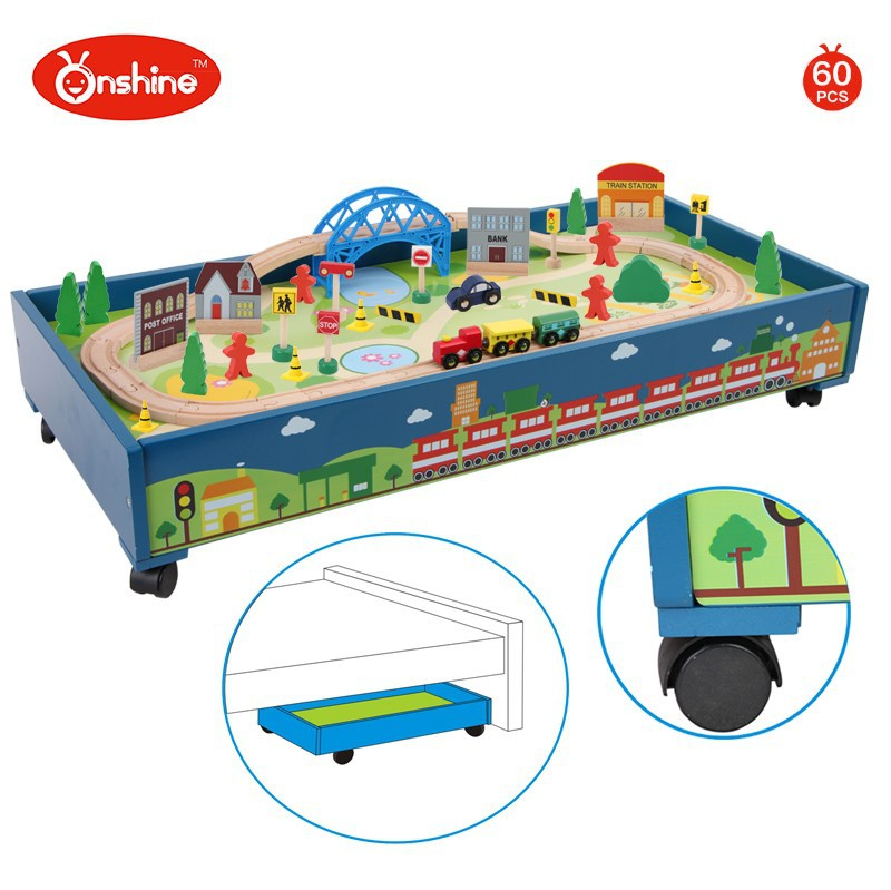 Children Toys New 2016 Style 60pcs Wooden Toy Train Tracks Set On ...