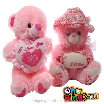 Christmas or valentine gift lover teddy bear plush toy with heart