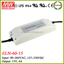 Meanwell ELN-60-15 60w constant voltage dimming led driver 15v 4a