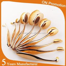 Best Selling COSMETIC MAKEUP make your own brand oval private label free sample 10pcs set Rose Gold Oval Makeup Brush For Makeup