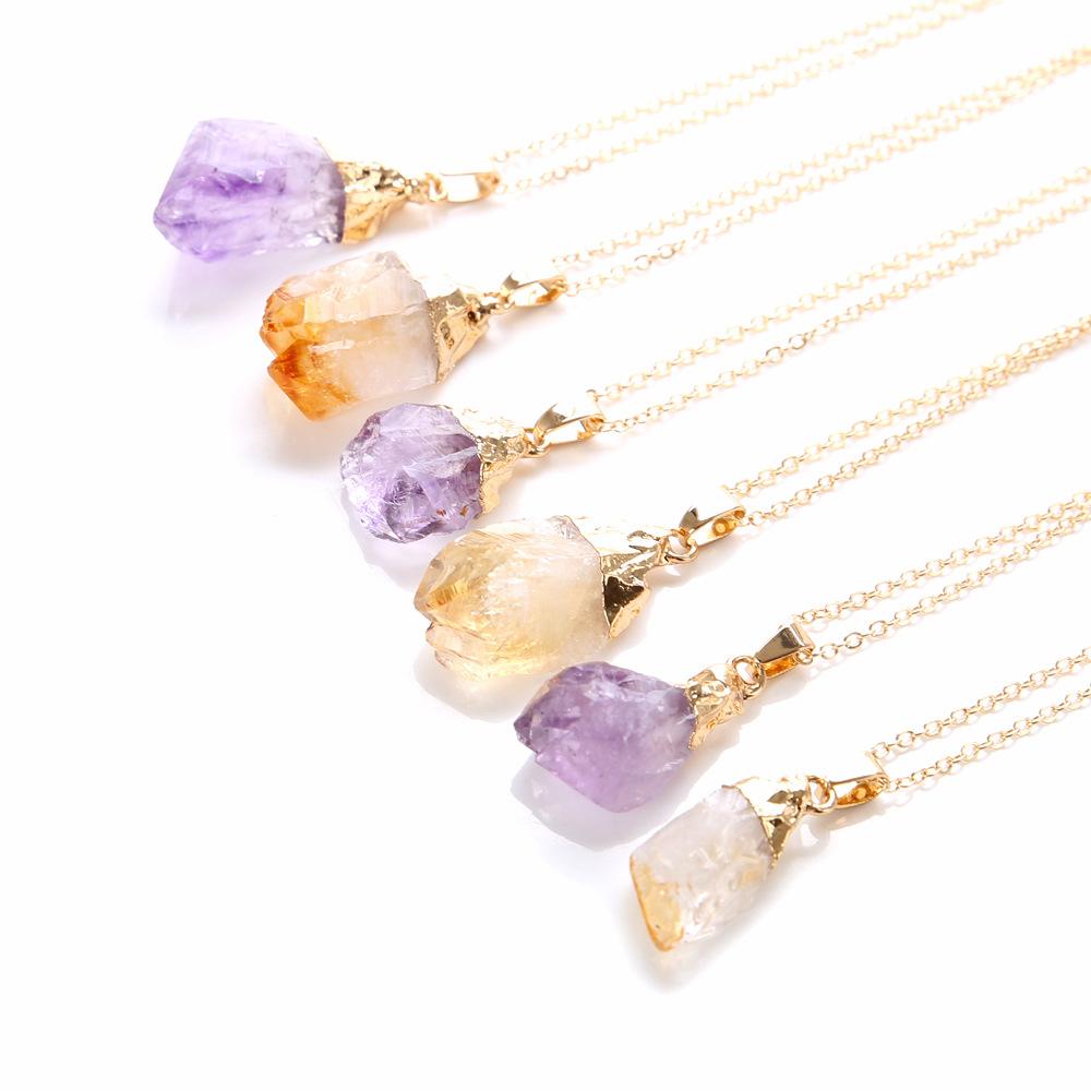 Charm Lady Jewelry Natural Amethyst Irregular Shape Pendant Necklace фото