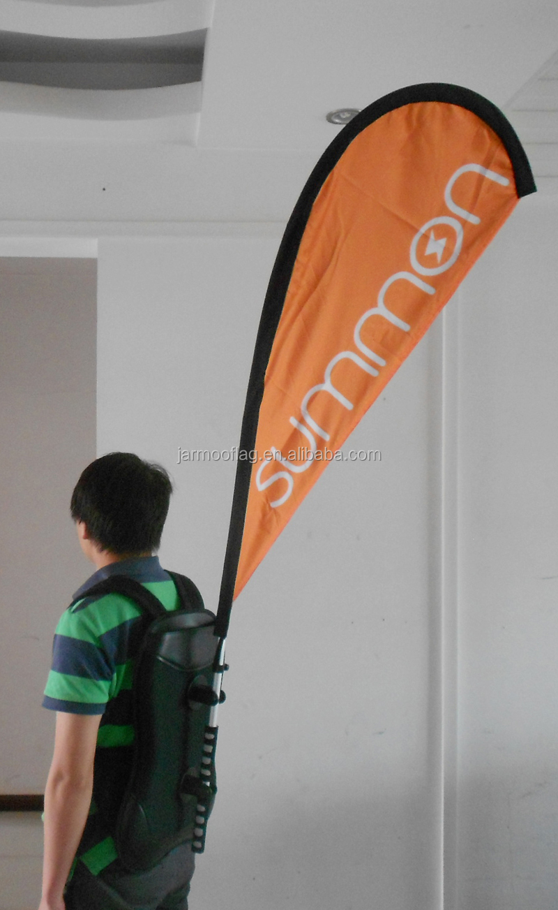 Walking  Feather shape backpack banner For Bike Competitive