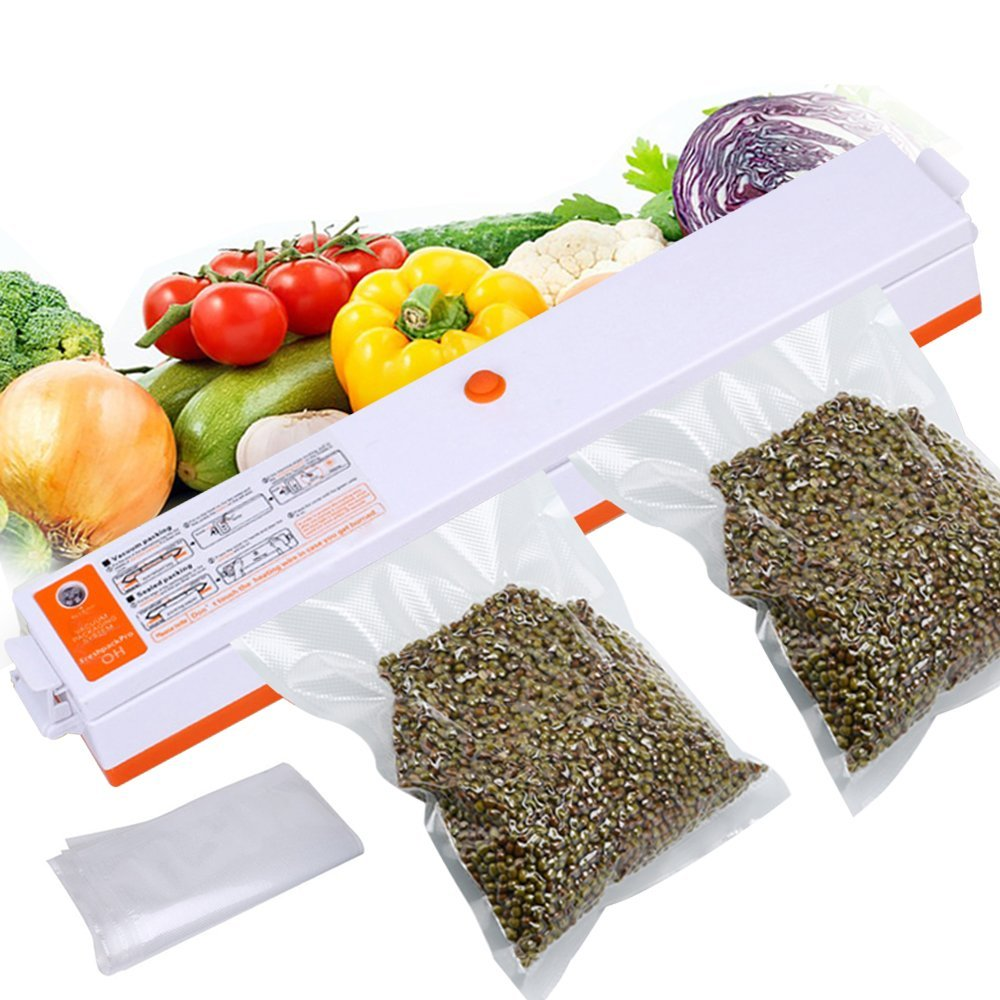 Vacuum Sealer, FOME Compact Size Automatic Food Vacuum Air Seal Packing Machine Vacuum Sealing for Food Preservation Storage Saver with 10 pcs Vacuum Bags