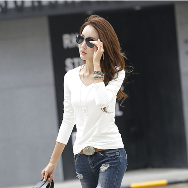 Popular women custom plain and blank tshirt in fashion design