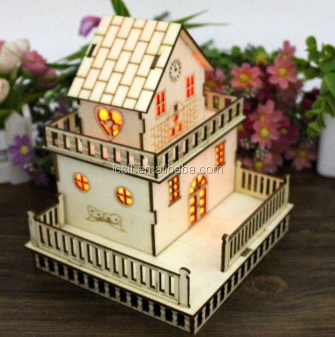 China liaocheng solistar laser cutting diy house toy wooden crafts