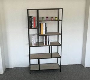 Home storage wrought iron rack with wooden shelf