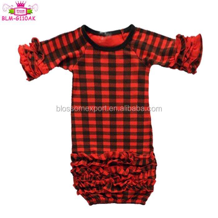 Toddler Girls Boutique Clothing Christmas Black And Red Buffalo Plaid Kids Icing Ruffle Cotton Gowns