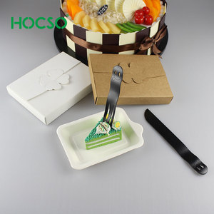 High grade Square Disposable Cake Plate Knives Forks set in spreated box for birthday cake