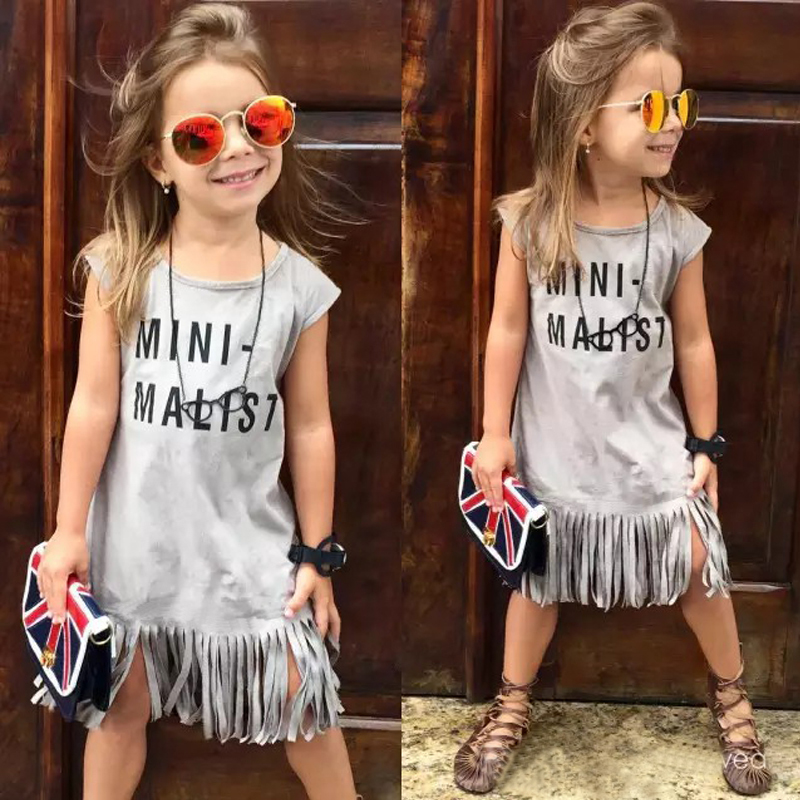 Fashion Girl dress Casual baby summer dresses cotton letter tassels girls clothes 2-8Y cute dress robe fille enfant kids clothes