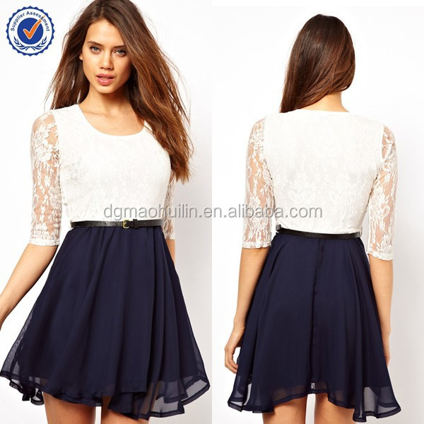 Fashion New Style Women Clothing Summer Dress With Lace Top Bodice ...