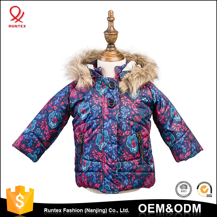 2017 Hooded Warm children faux fur coat korean style Girls full printed jacket coat with fur hood