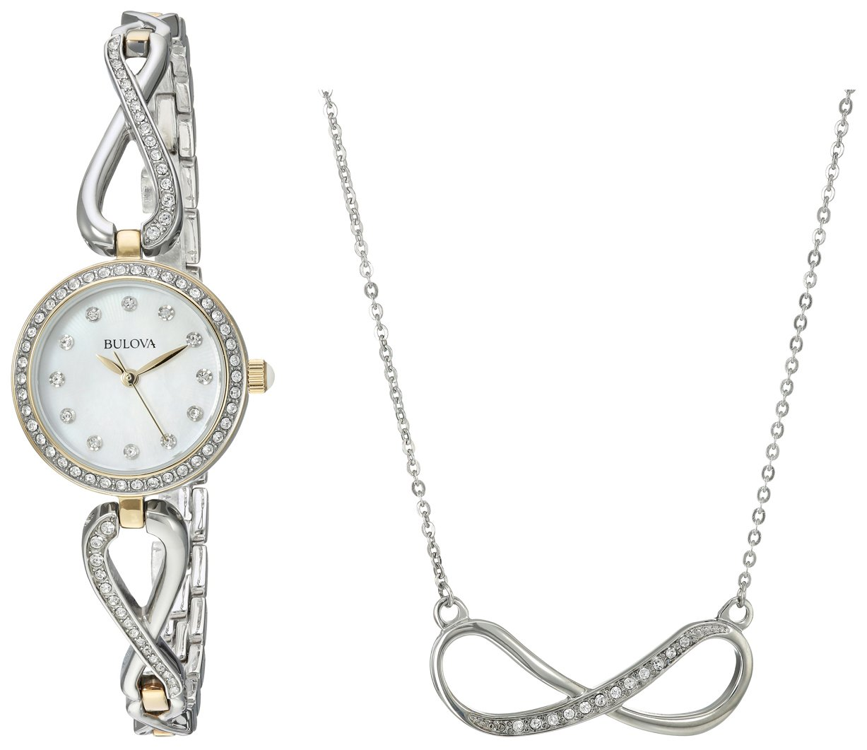 Bulova Women's Two-Tone Crystal Watch With Necklace