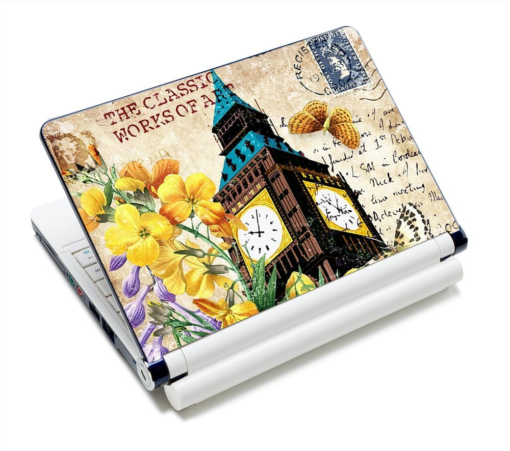 "Pretty Flower & Bellhouse 11.6""-15.6"" Netbook Laptop Skin Sticker Reusable Protector Cover Case for 11.6"" 12.1"" 13"" 13.1"" 13.3"" 14"" 15"" 15.4"" 15.6"" Inch Toshiba Hp Samsung Dell Apple Acer Leonovo Sony Asus Laptop PC FY-NEK-023"