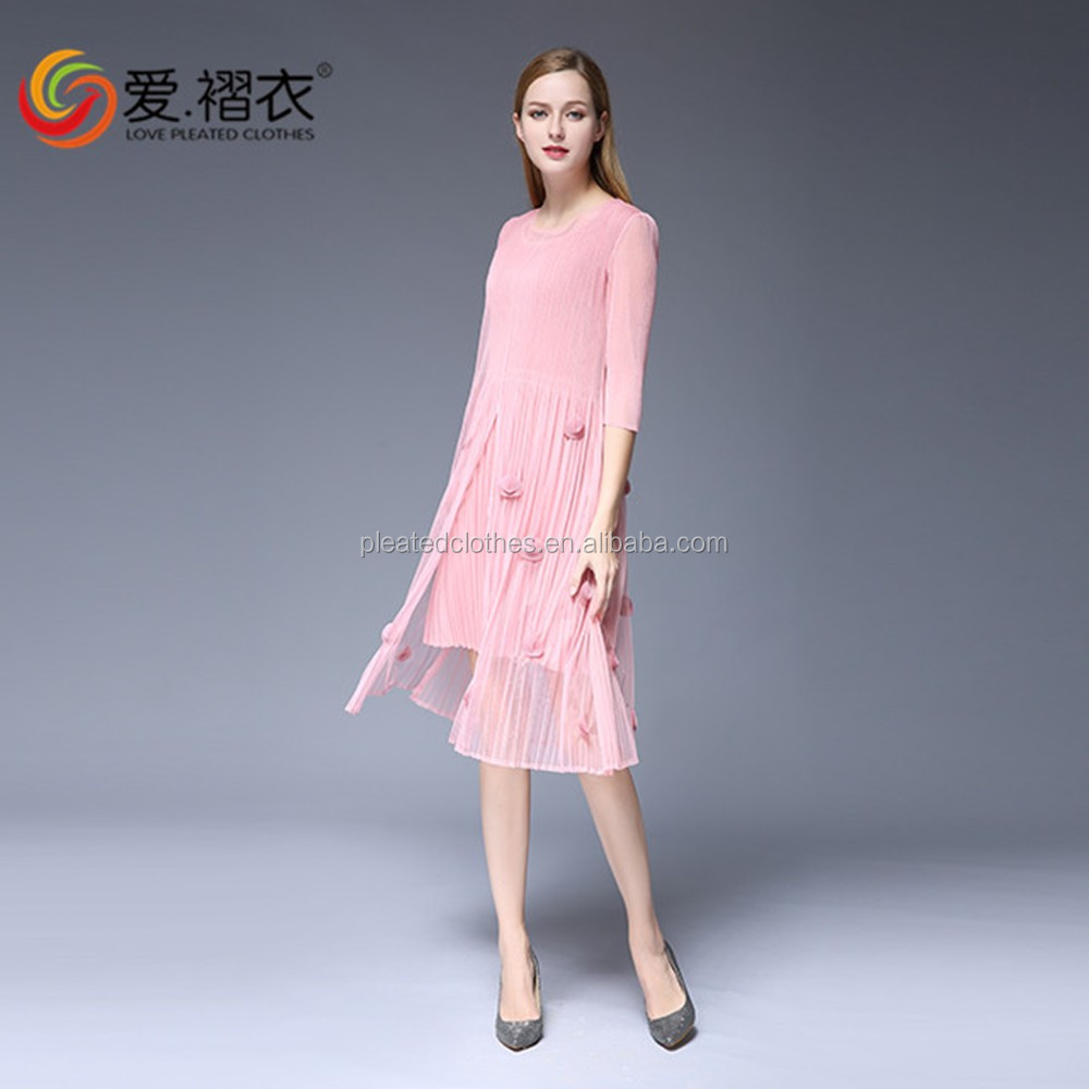 Decoration conch flowers dress Pure color pink girls dress with sheer sleeve