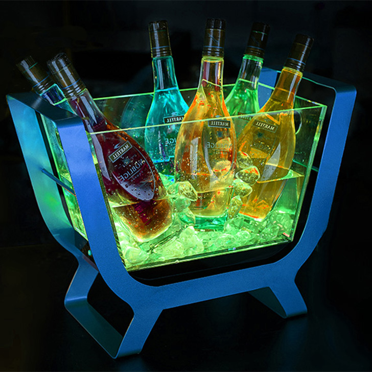 acrylic clear led ice buckets for beer and winer in bars