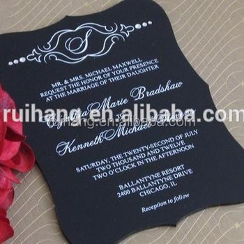 2018 New Design Black Hard Plastic Muslim Acrylic Wedding Invitation