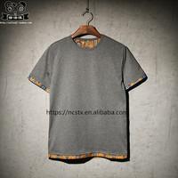 High quality vintage style mens tshirt stitching color short sleeve t-shirt
