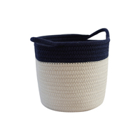Small cute handmade round baby laundry cotton rope woven storage basket with 2 handle