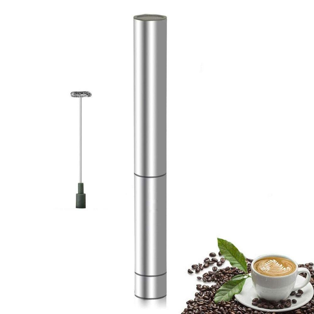 AOLVO Electric Milk Frother Handheld Stainless Steel Milk Foamer Beater Stirrers Portable Mixer Whisk for Egg Cappuccino Macchiato Coffee Frappe Latte Matcha Hot Chocolate(1spring)