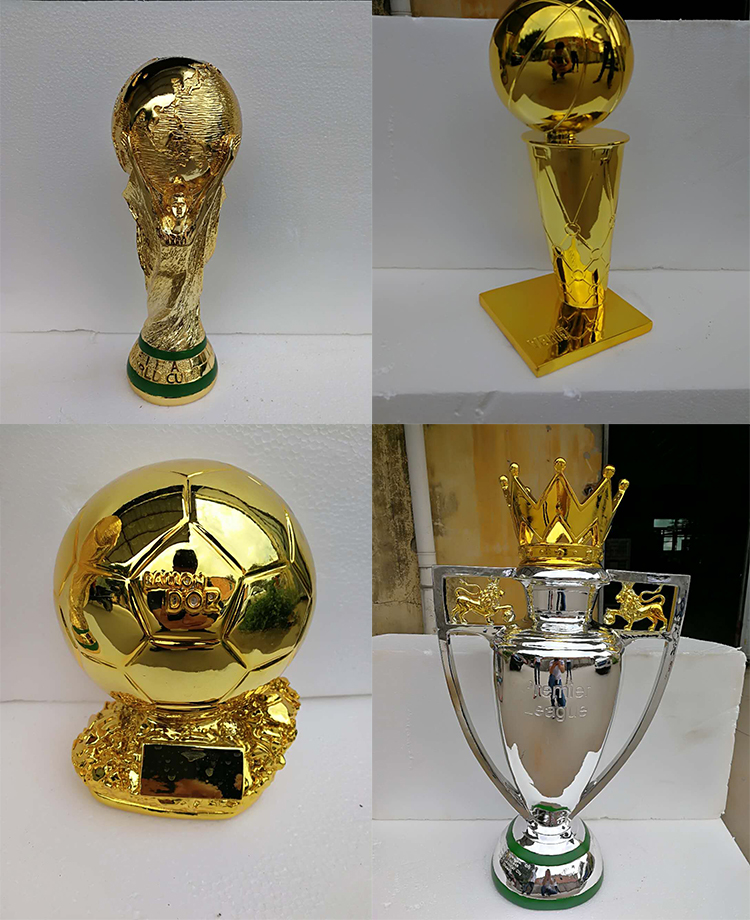 Gold plated china metal football soccer trophy for souvenir