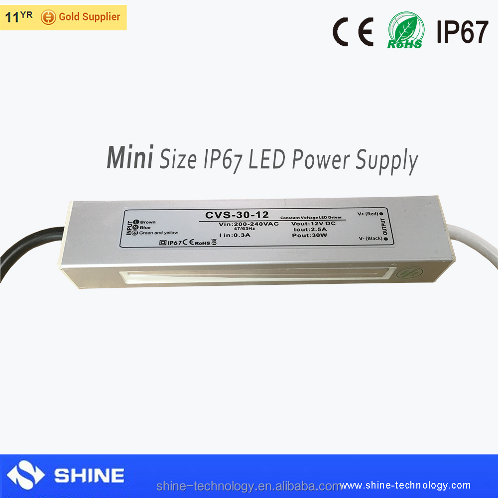 slim size 12v 30w waterproof led power supply for bathroom mirror led lighting, ip67 led driver transformer battery led light