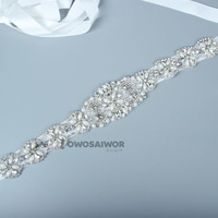 new fashion gorgeous wedding sash diamante crystal pearl wedding dress belt choose us is your best choice
