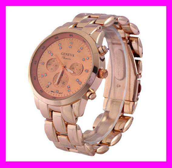 Newest fashion rose gold quartz geneva platinum watch japanese movement HD1836