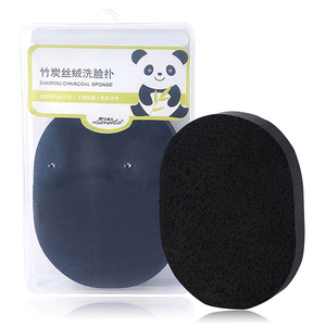 Wholesale soft facial cleansing sponge pva bamboo charcoal black face sponge