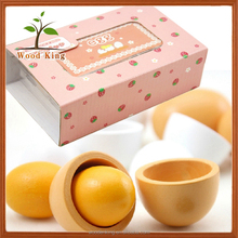 Wooden Simulation Six Pack Egg Group Children Play Toys Imitation Food Mini Kids Set Kitchen Wood Toy
