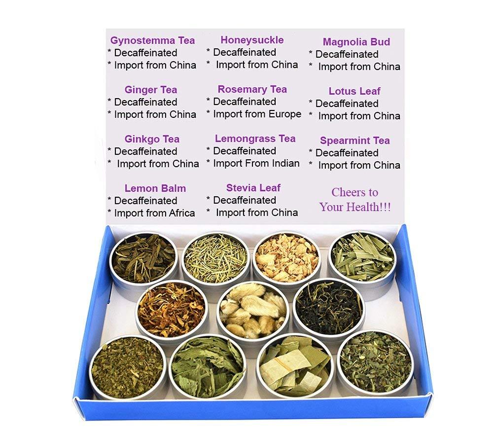 Chinese Tea Culture Tea Sampler - Herbal Tea - Lemon Balm - Ginger - Lotus - Honeysuckle - Ginkgo - Gynostemma - Lemongrass - Mint - Rosemary - Stevia - Decaffeinated - Gift Box - Loose Tea