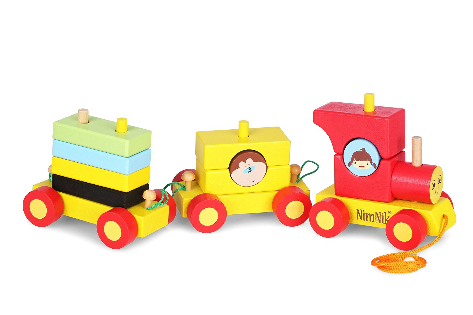 Cheap Educational Toys : Buy pull along toys wooden train set for toddlers stacking wooden