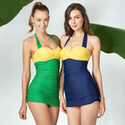 OEM custom one piece swimsuit Color Block Fashion beachwear Bikini Women