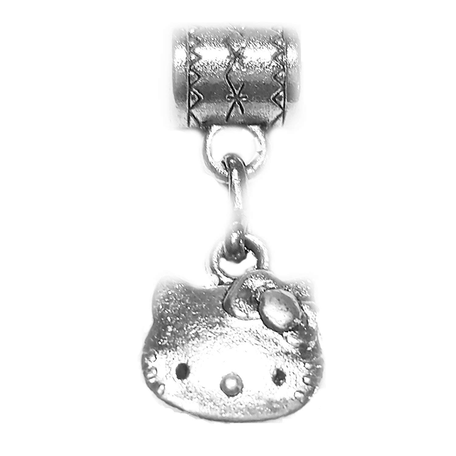 """""""Hello Kitty charm"""" Tibetan Silver Hanging charm by Mossy Cabin for large hole style snake chain charm bracelets, or add to a neck chain, pendant necklace or key chain"""