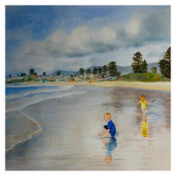 Kids Room Best Decoration Hand Painted Children On Beach Painting Best  Landscape For Living Room Wall