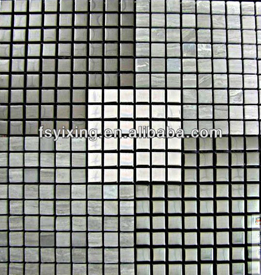 stone mosaic tiles mural,floor marble mosaic and stainless steel mosaic for wall decoration 300*300 YX-SM06
