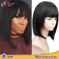 Unprocessed 100 human remy Indian natural hair wig with bangs