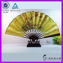 Wholesale bamboo silk folding fan with natural landscape picture folding fan for business gift