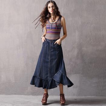 dc29588e5 Wholesale Elegant Women Long Fitted Denim Jean Ruffles Maxi Skirt ...