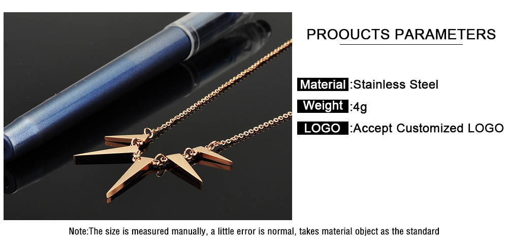 Fashionable Jewellery Women Chain Stainless Steel Rose Gold Necklace